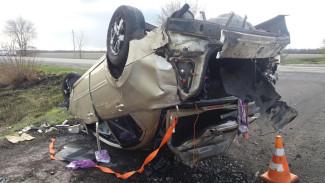 В Воронежской области иномарка вылетела в кювет и перевернулась: пострадали двое