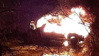 В Воронеже сгорела припаркованная машина: появилось видео