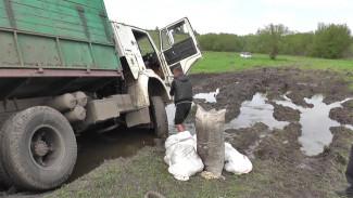 В Воронежской области в грязи застрял грузовик с контрабандным салом