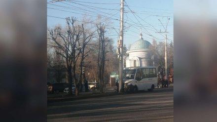 В Воронеже маршрутка с пассажирами врезалась в фонарный столб