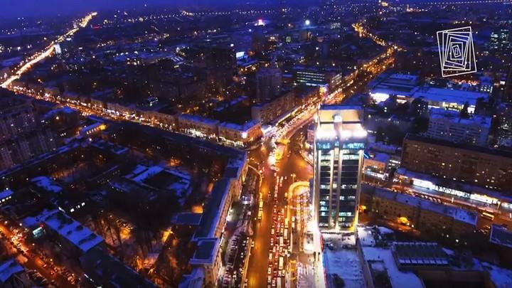 Ночные красоты сердца Воронежа сняли на видео с высоты птичьего полёта