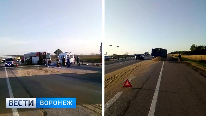 Водитель автобуса, влетевший в грузовик на воронежской трассе, попал под уголовное дело