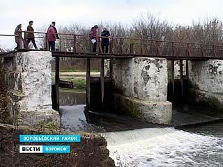 Импровизированную дамбу построили на речке в Воробьёвском районе