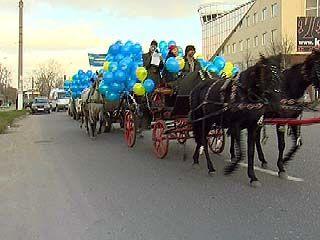 Либерал-демократы провели демонстрацию на лошадиных упряжках