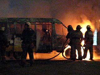 На стоянке у Авторынка сгорело маршрутное такси