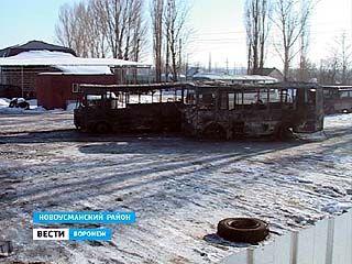 Пожар уничтожил целый автобусный парк в Новой Усмани