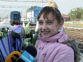 В Воронеже встречали гимнастку Викторию Комову