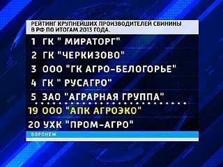 Воронежское предприятие попало в двадцатку крупнейших производителей свинины в России