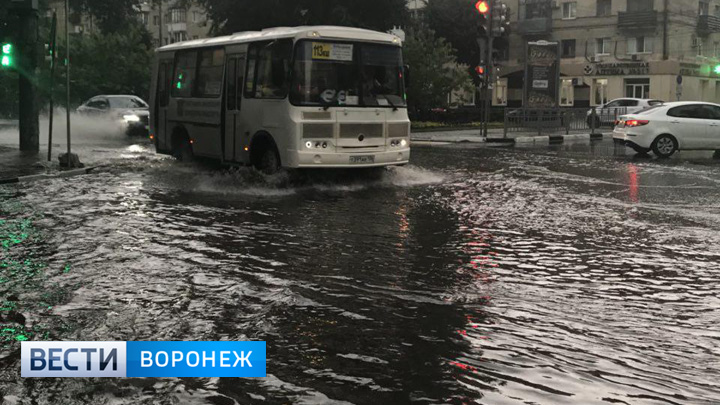 «Не едем, а плывём». Воронежцы поделились фото и видео обрушившейся на город грозы