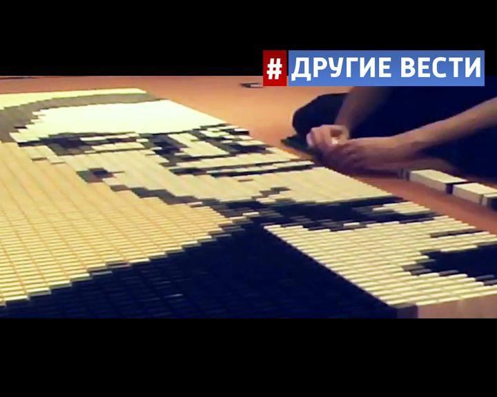Студент из Нидерландов за 3 дня выложил из домино портрет Виталия Чуркина