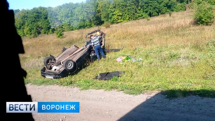 Под Воронежем ВАЗ опрокинулся вкювет: шофёр умер, пассажир в клинике